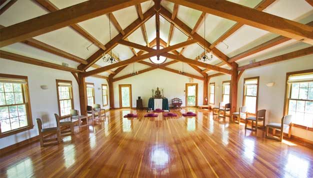 This timber frame at the Barre Center for Buddhist Studies crates a beautiful, serence meditation hall.