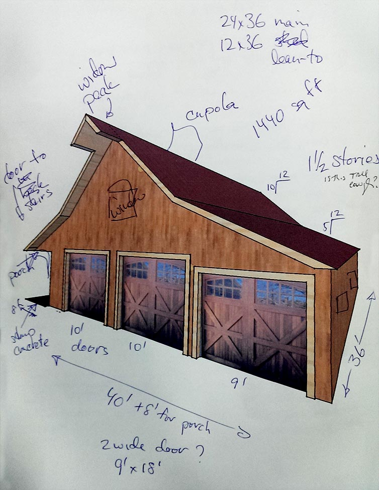 This is an initial sketch our client made to show us her general concept ot the barn she wanted.