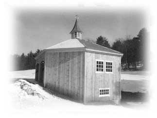 This octagonal barn was framed with heavy timbers and wooden joinery.