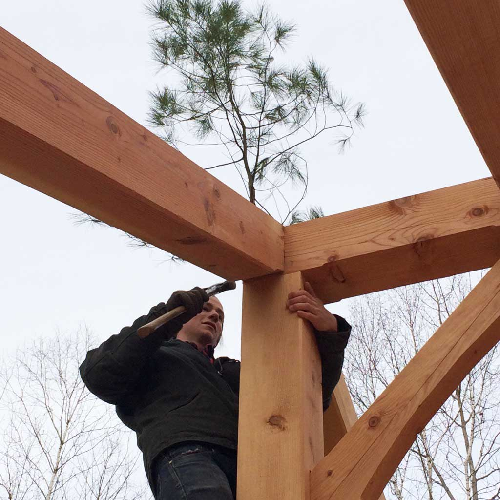 We follow the tradition of fastening a tree to the tallest point of the building.