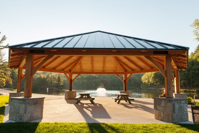 We have built three pavillions in the town of Leominster MA. These public spaces are used for municipal events and also by private parties for celebrations.