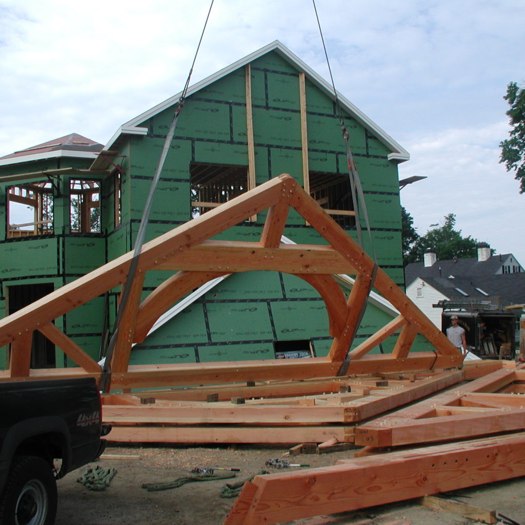 "The massive trusses are ""flown"" into place."