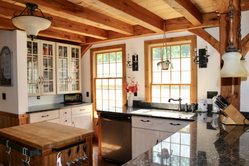 Timber frame home with cottage charm