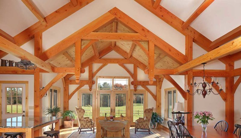 Hammerbeam trusses create a distinctive seating area.