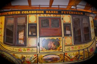 Close up of wood coach stage art