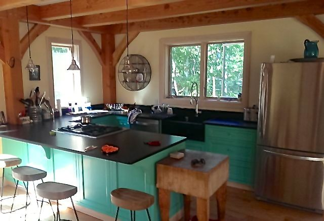 Cottage kitchen is bright and breezy.