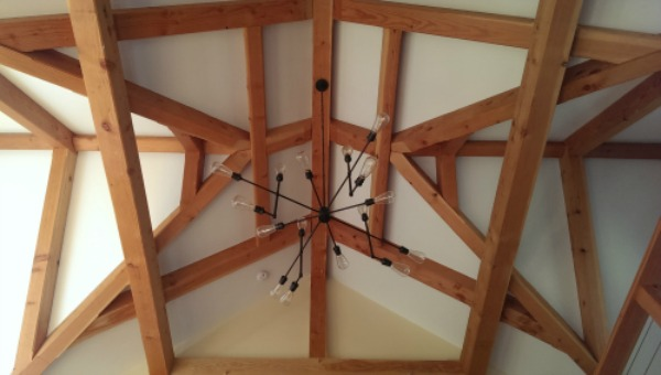 Shuster timber frame ceiling in home