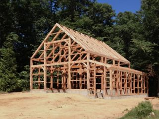 Speare frame for barn erected