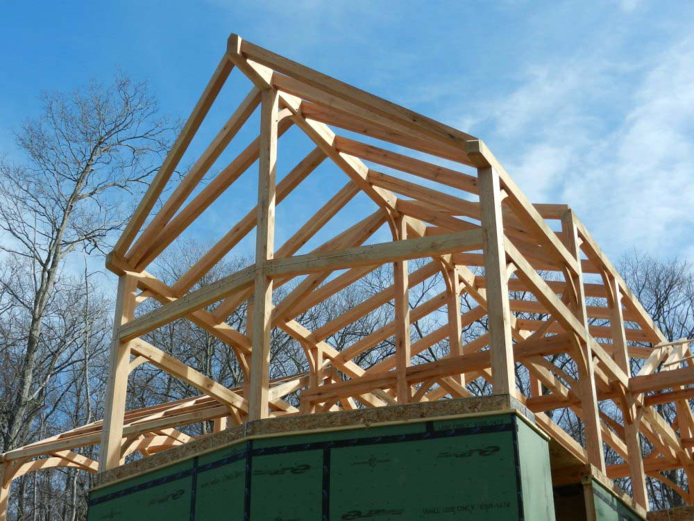 Timber Frame with Prowfront in Lake Manchaug in Massachusetts