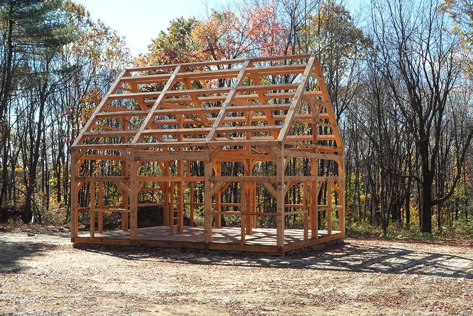 historical english barn timber frame in Massachusetts