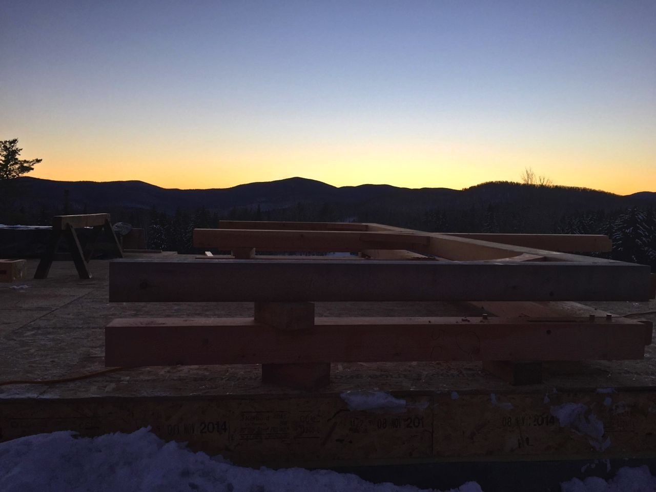 winter sky, timbers on deck