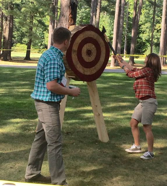 Axe-throwing was one of the fun events at the Timber Framers Guild Conference.