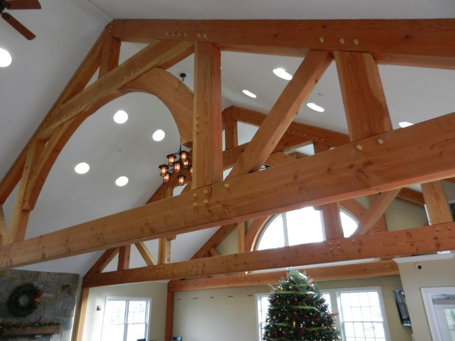 Queenpost trusses in finished building