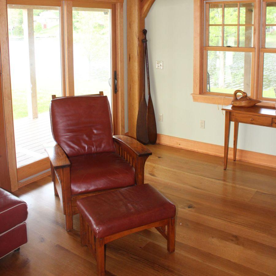 Timber frame living room corner