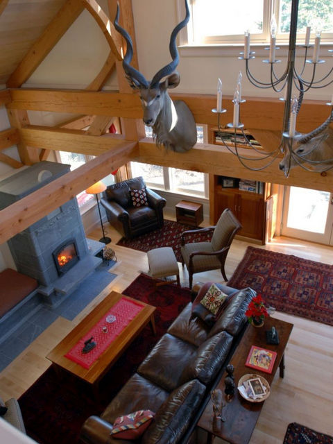 Loft overlooks great room addition.