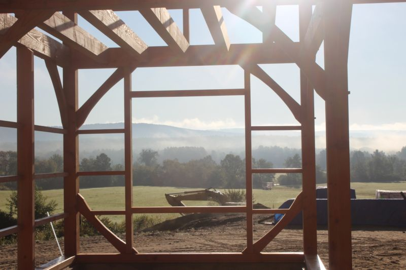 View of field from timber frame