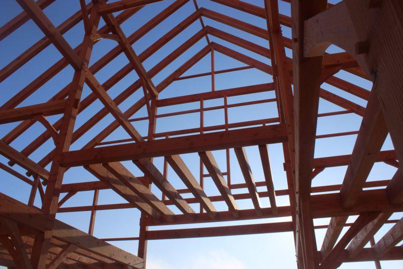 Bare timber frame