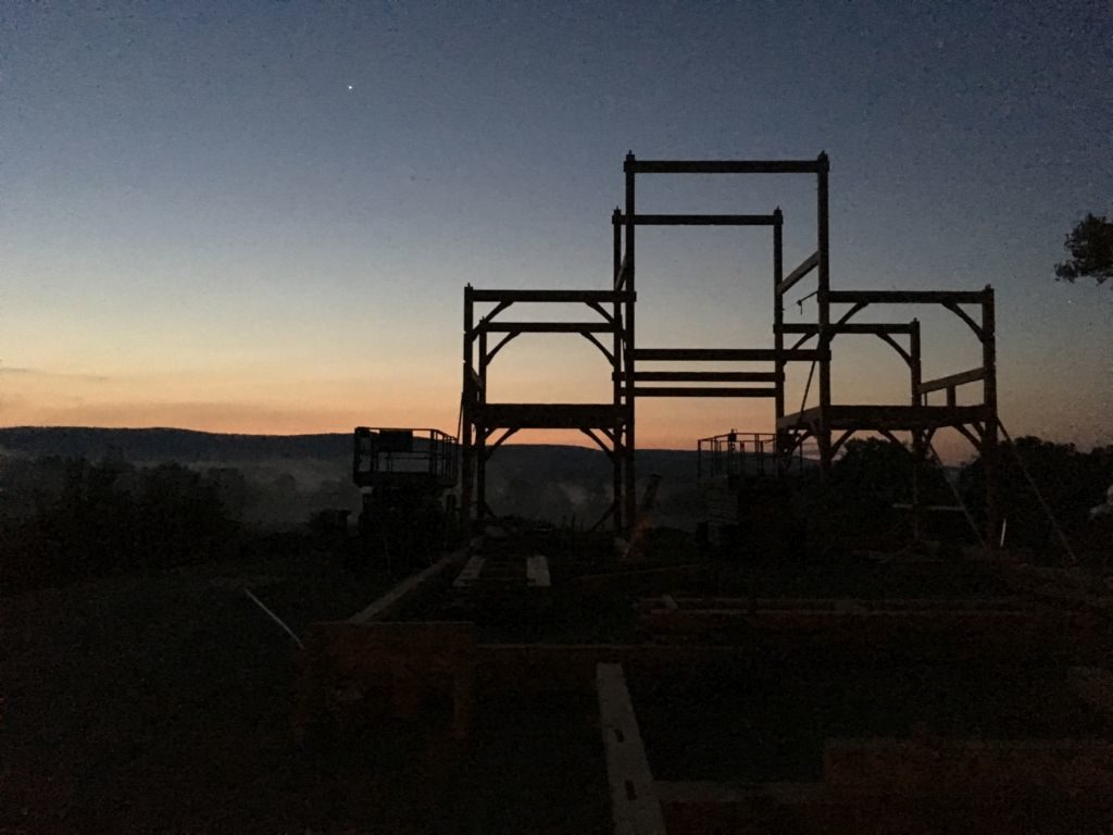 Raised bents at twilight