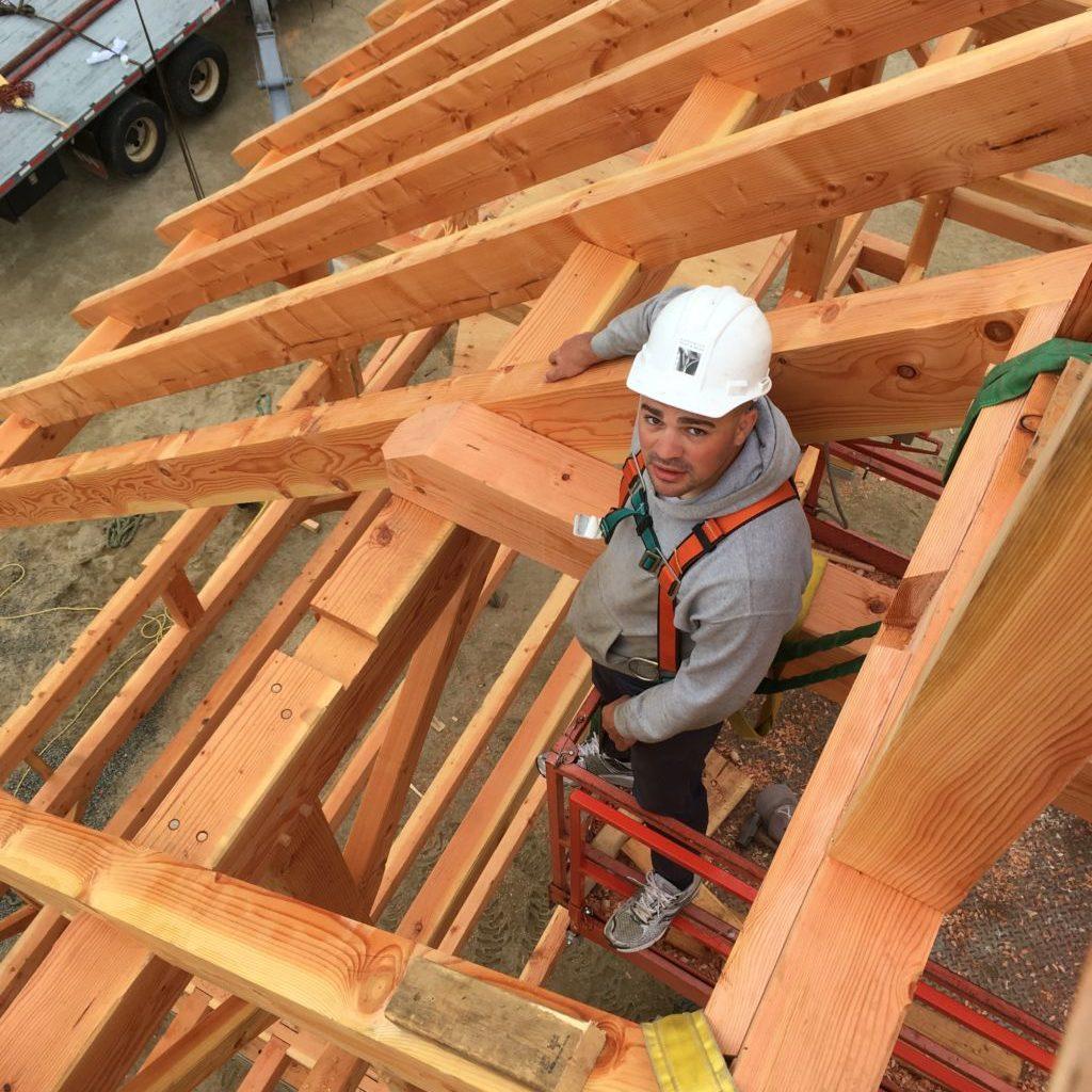 Raising a timber frame