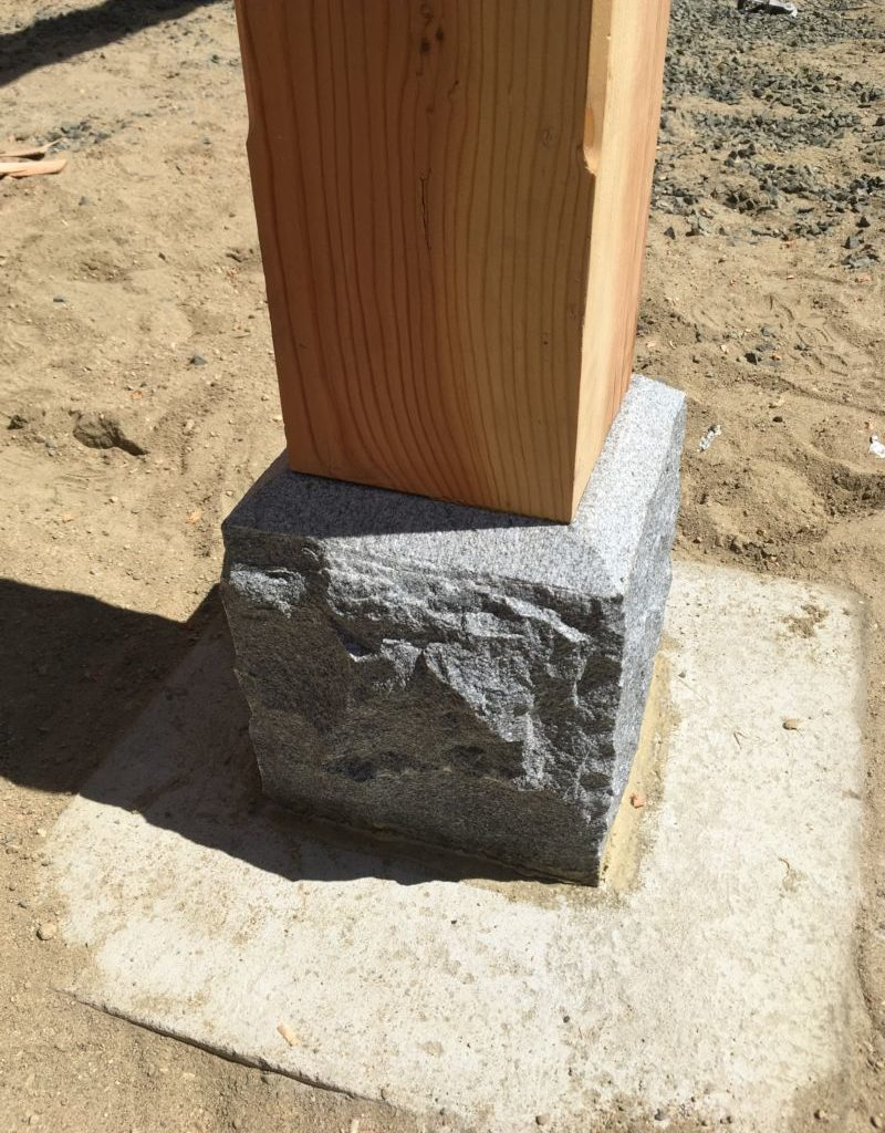 Granite pier for shed post
