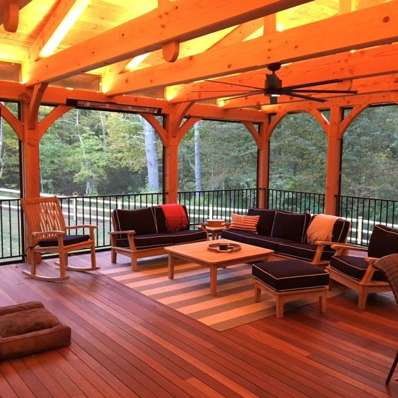 Timber frame porch with seating