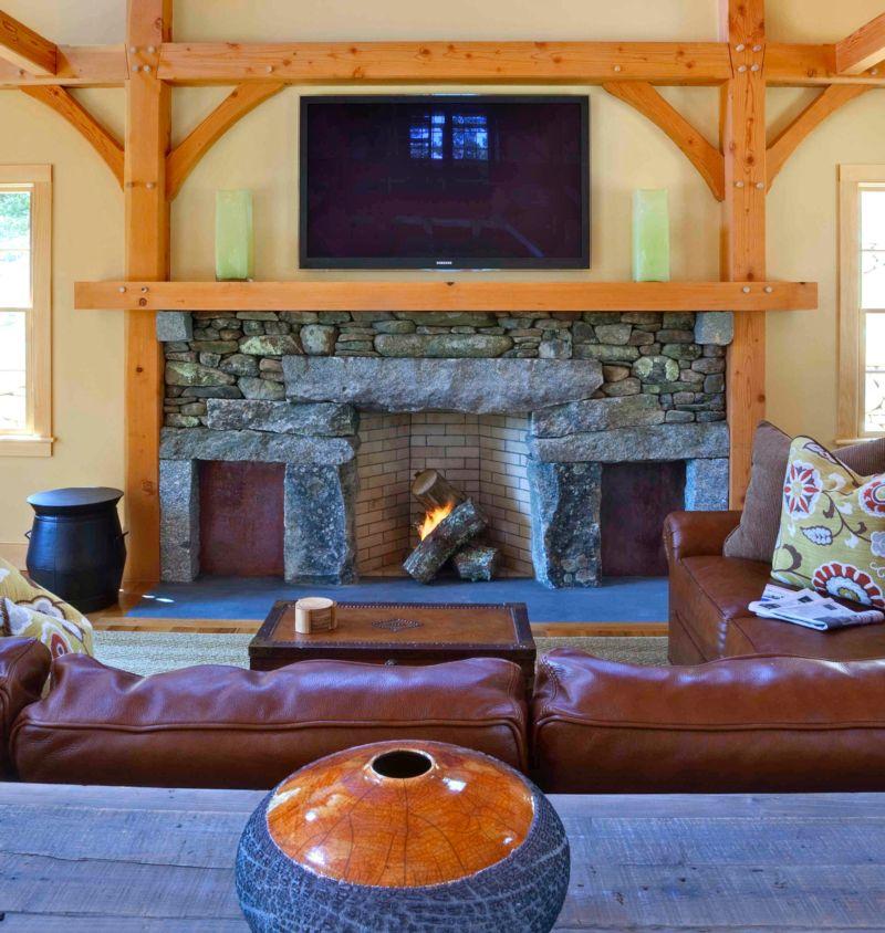 Contemporary decor, timber frame fireplace