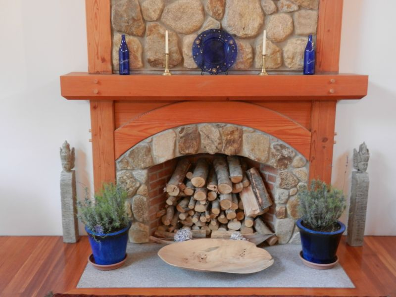 Timber Frame fireplace arched