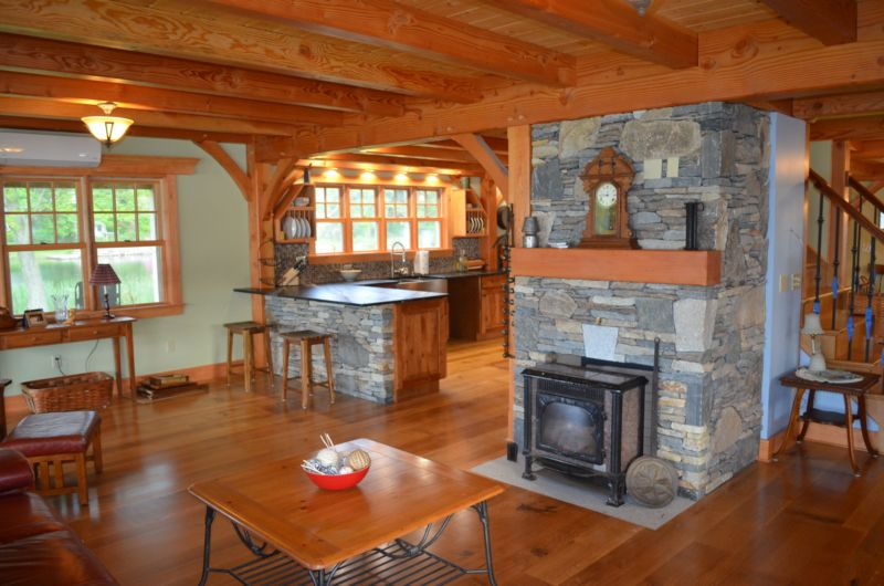 Timber frame kitchen and living room