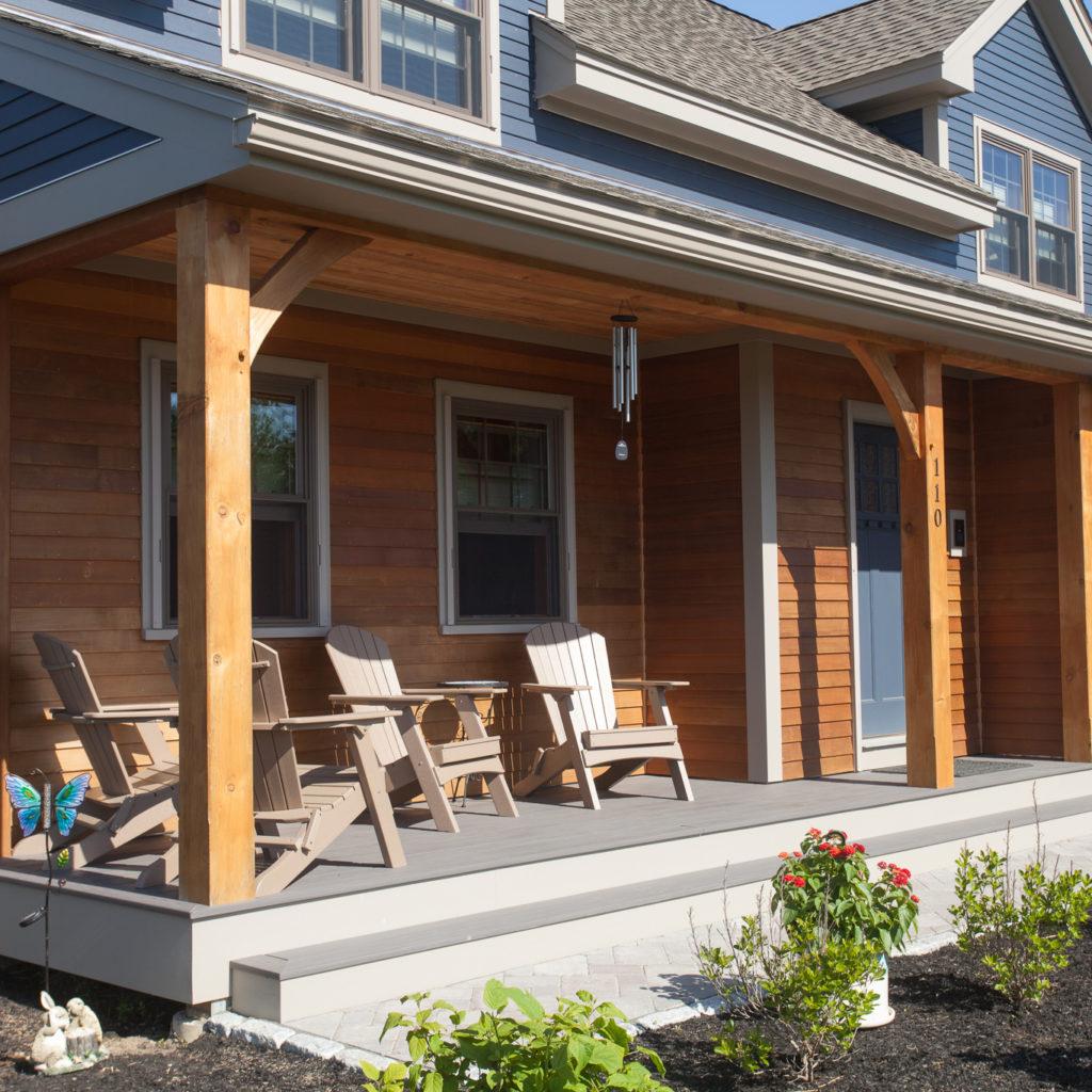 Wood siding, timber porch